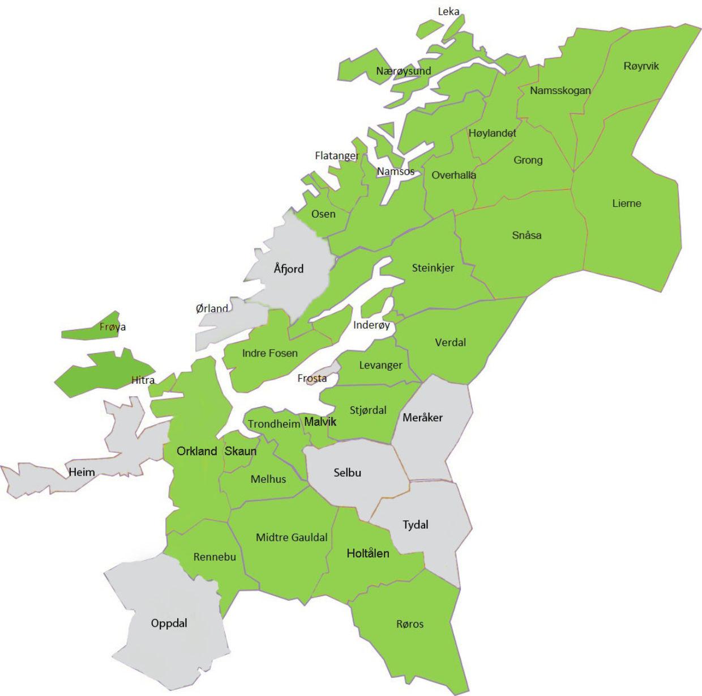 Kommuner i Nye Trondelag ikkemedlem