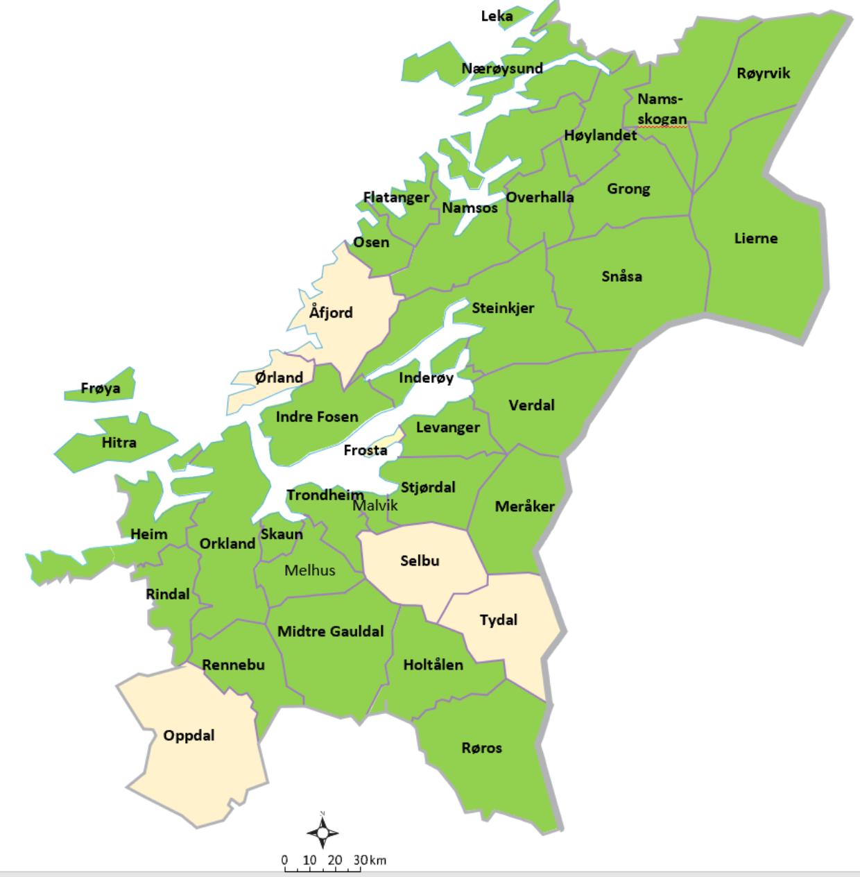 Trondelag medlemskommuner
